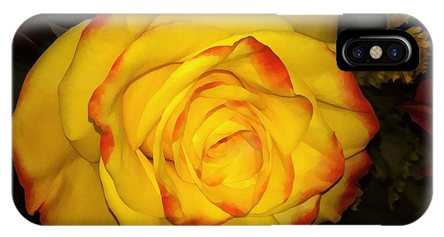 Rose IPhone X Case featuring the photograph Rose Passion Yellow Impression by Saundra Myles