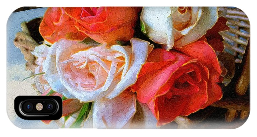 Still Life IPhone X Case featuring the painting Roses Florentine by RC DeWinter