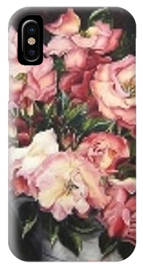 Pink Roses Floral Flowers IPhone Case featuring the painting Roses In A Watercan by Karin Dawn Kelshall- Best