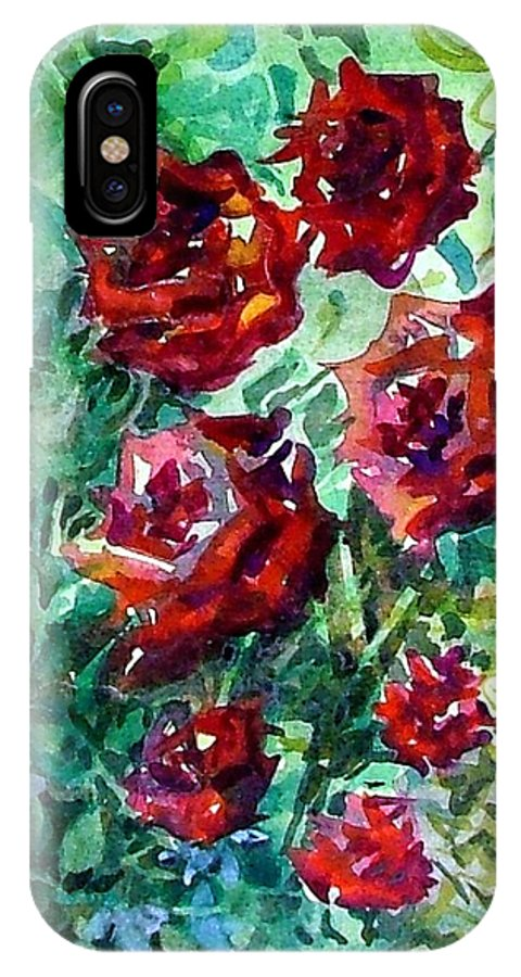 Rose IPhone X Case featuring the painting Roses by Mindy Newman