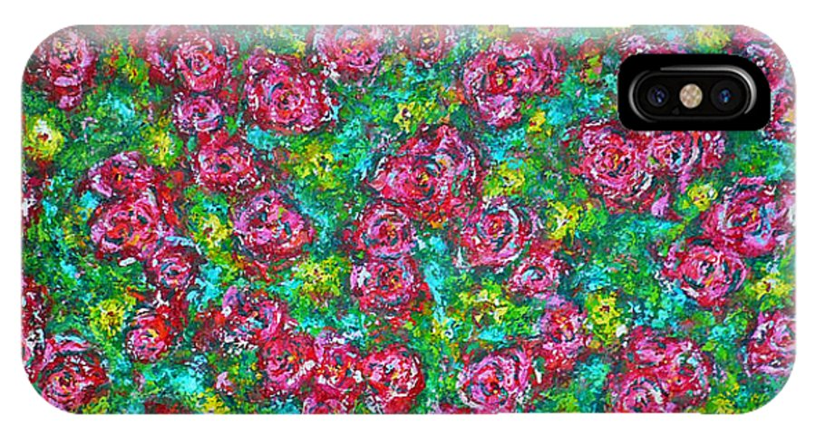 Garden IPhone X Case featuring the painting Roses Pattern by Ericka Herazo