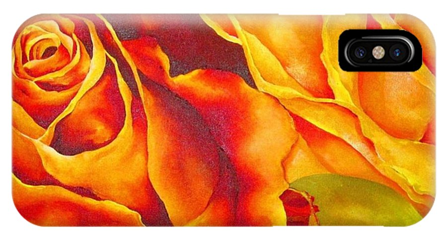 Rose IPhone X Case featuring the painting Rosetta by Elizabeth Elequin