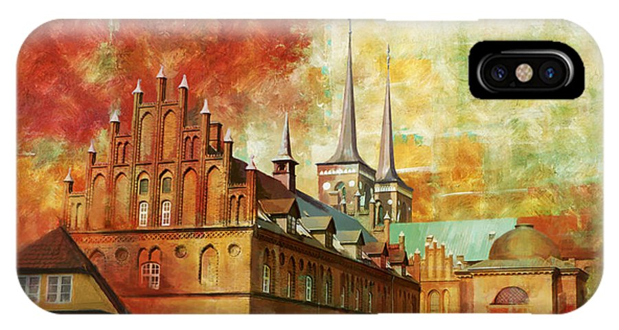 Denmark Art IPhone X Case featuring the painting Roskilde Cathedral by Catf