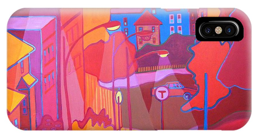 Cityscape IPhone X Case featuring the painting Roslindale Never Looked So Red by Debra Bretton Robinson