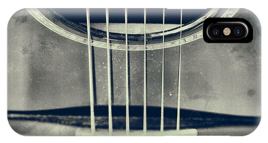 Guitar IPhone X Case featuring the photograph Rough Acoustic by Karol Livote