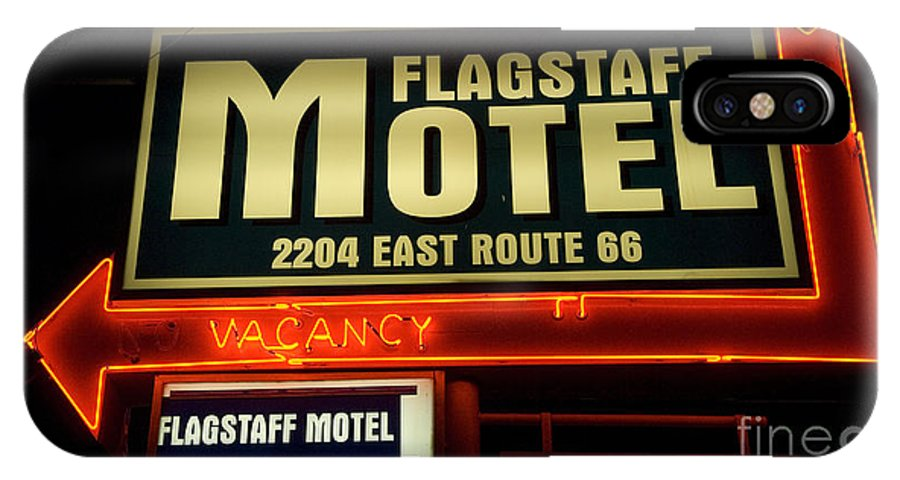 Classic Car IPhone X Case featuring the photograph Route 66 Flagstaff Motel by Bob Christopher