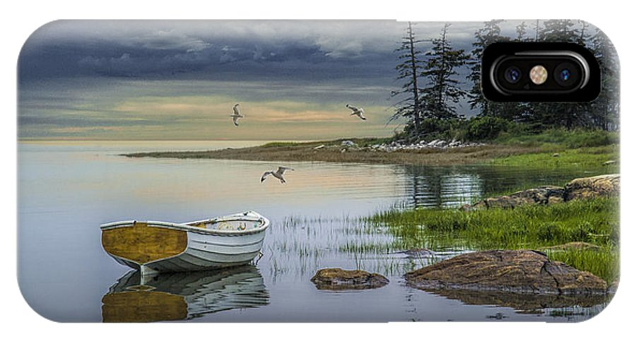 Evening IPhone X Case featuring the photograph Row Boat By Mount Desert Island by Randall Nyhof