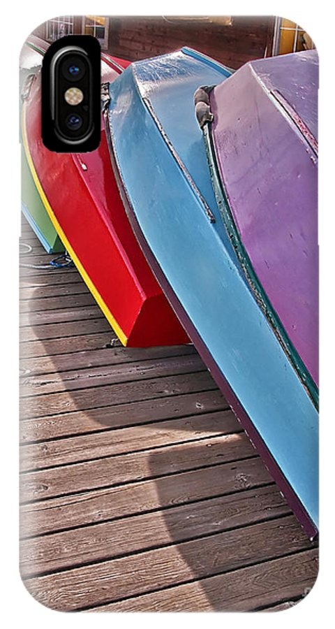 Boats IPhone X Case featuring the photograph Row Of Colorful Boats Art Prints by Valerie Garner