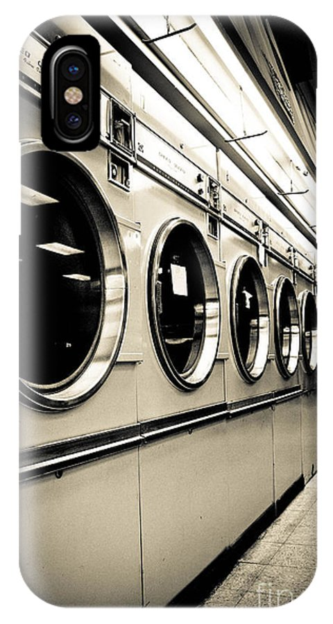 B&w IPhone X Case featuring the photograph Row Of Washing Machines In Laundromat by Amy Cicconi