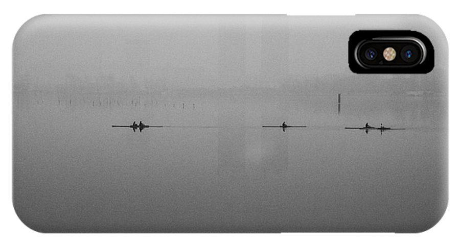 Rowers IPhone X Case featuring the photograph Rowers On The Lake by Dean Harte
