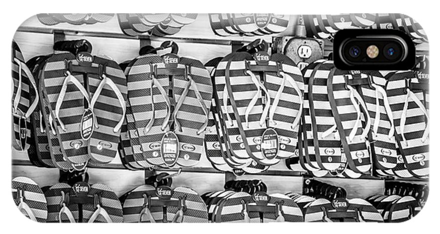America IPhone X Case featuring the photograph Rows Of Flip-flops Key West - Black And White by Ian Monk
