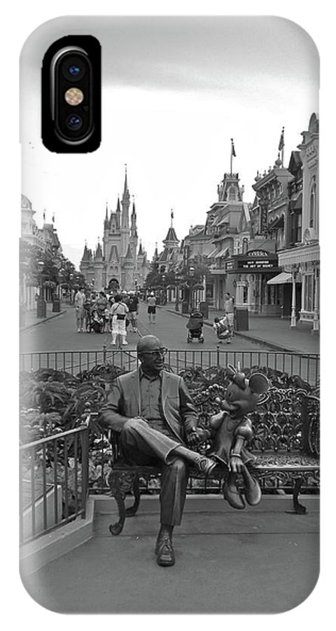Black And White IPhone X / XS Case featuring the photograph Roy And Minnie Mouse Black And White Magic Kingdom Walt Disney World by Thomas Woolworth