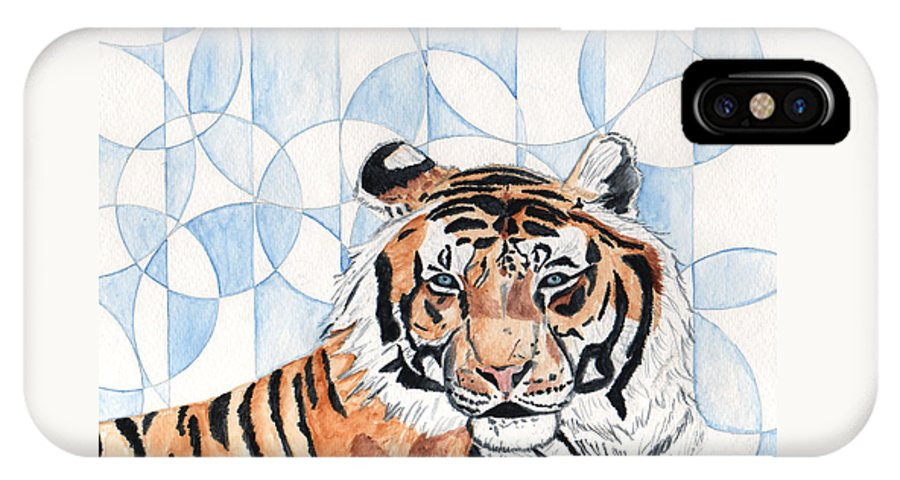 Tiger IPhone X Case featuring the painting Royal Mysticism by Crystal Hubbard