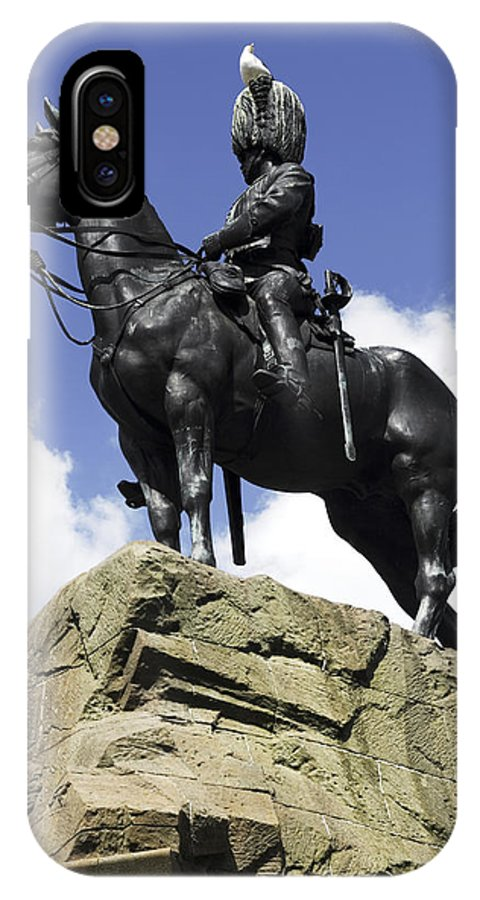 Scotland IPhone X Case featuring the photograph Royal Scots Greys Monument In Edinburgh by Dawn Gilfillan