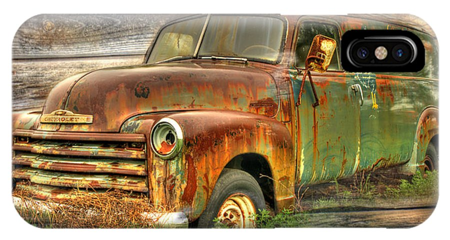 Antique Truck IPhone X Case featuring the photograph Rubens Good Chicks 2 by Thomas Young