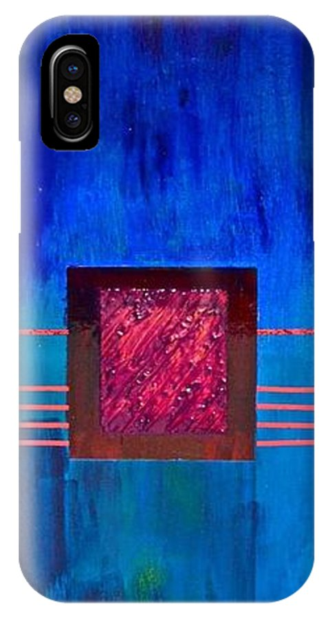Bue IPhone X Case featuring the painting Rubis De Sang by Jim Ellis