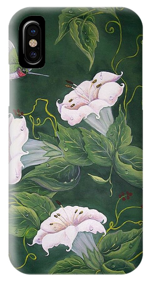 Hummingbird IPhone X Case featuring the painting Hummingbird And Lilies by Sharon Duguay