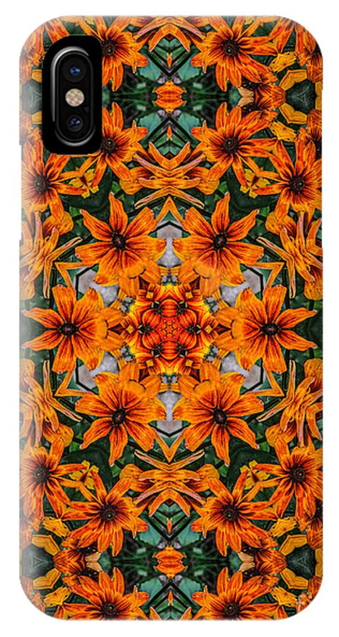 Flower IPhone X Case featuring the photograph Rudi 2 Kaleidoscope by Judy Wolinsky