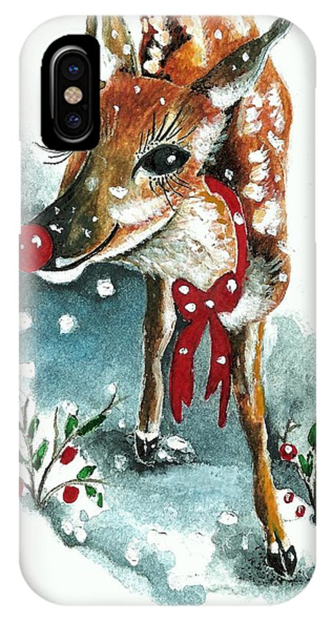 Snow IPhone X Case featuring the painting Rudolf by Joy Bradley