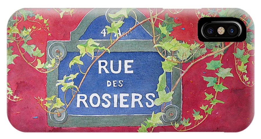 Red Wall IPhone X Case featuring the painting Rue Des Rosiers In Paris by Mary Ellen Mueller Legault