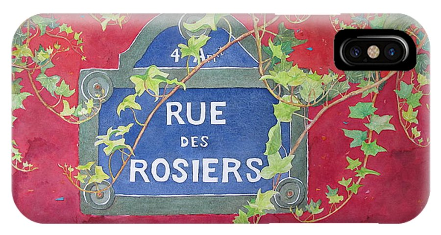 Red Wall IPhone Case featuring the painting Rue Des Rosiers In Paris by Mary Ellen Mueller Legault