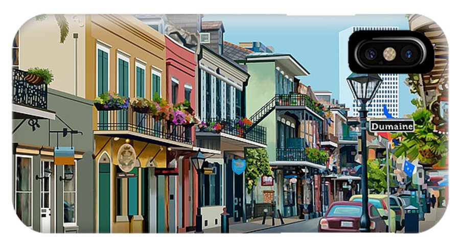 Domaine IPhone X Case featuring the digital art Rue Domaine New Orleans by James Mingo