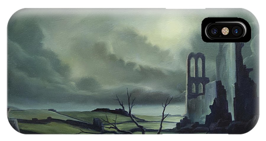 Ruins; Cityscape; Landscape; Nightmare; Horror; Power; Roman; City; World; Lost Empire; Dramatic; Sky; Red; Blue; Green; Scenic; Serene; Color; Vibrant; Contemporary; Greece; Stone; Rocks; Castle; Fantasy; Fire; Yellow; Tree; Bush IPhone X Case featuring the painting Ruins Of Cathedra by James Christopher Hill