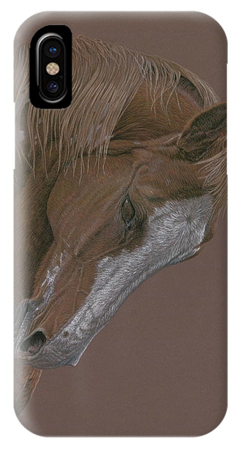 Horse IPhone X Case featuring the drawing Rune by Laura Klassen