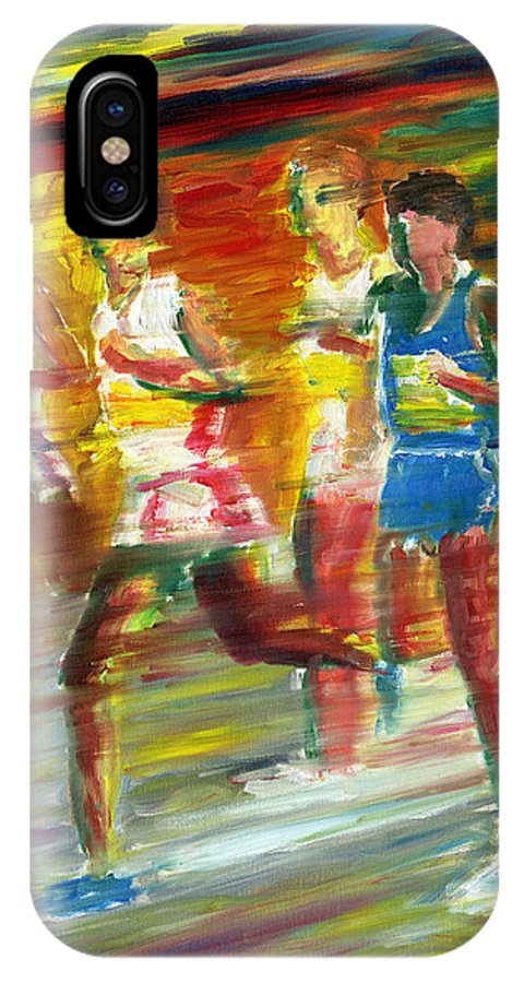 Runners IPhone X Case featuring the painting Runners by Stan Sweeney