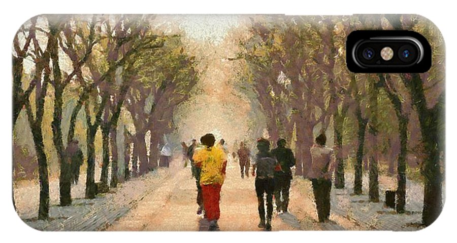 Beijing; China; Asia; City; People; Run; Running; Temple Of Heaven; Park; Tiantan; Practice; Practicing; Train; Training; Morning; Capital; Chinese; East; Eastern; Holidays; Vacation; Travel; Trip; Voyage; Journey; Tourism; Touristic; Paint; Painting; Paintings; Jog; Jogging IPhone X / XS Case featuring the painting Running Early In The Morning by George Atsametakis