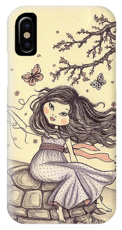 Illustration IPhone X Case featuring the drawing Running To The Spring by Snezana Kragulj