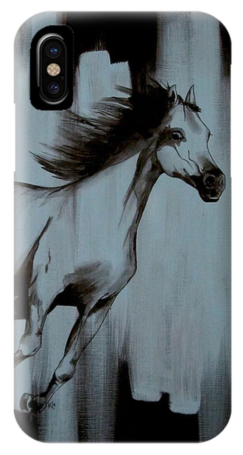 Running Horse IPhone X Case featuring the painting Running Wild by Konni Jensen