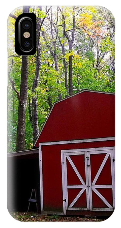 Red Barn IPhone X Case featuring the photograph Rural Fall Scene by Sylvia Herrington