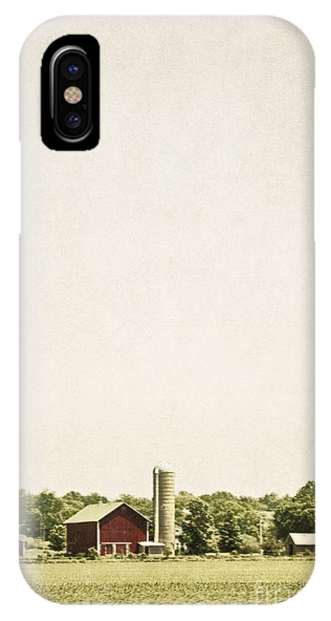 Old; Farm; Barn; Rural; Red; Fall; Landscape; Outside; Outdoors; Country; Countryside; Sky; Distance; Grass; Field; Silo; Trees; Empty; No One IPhone X Case featuring the photograph Rural Farmland by Margie Hurwich