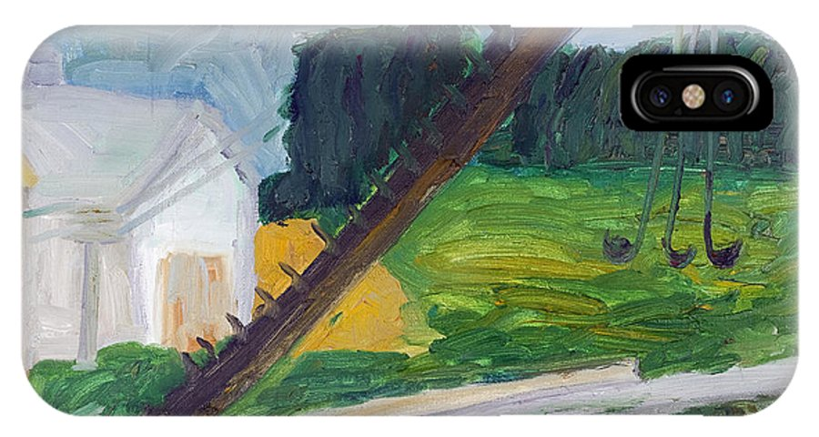 Forest IPhone X Case featuring the painting Rural Landscape by Simonas Pazemeckas