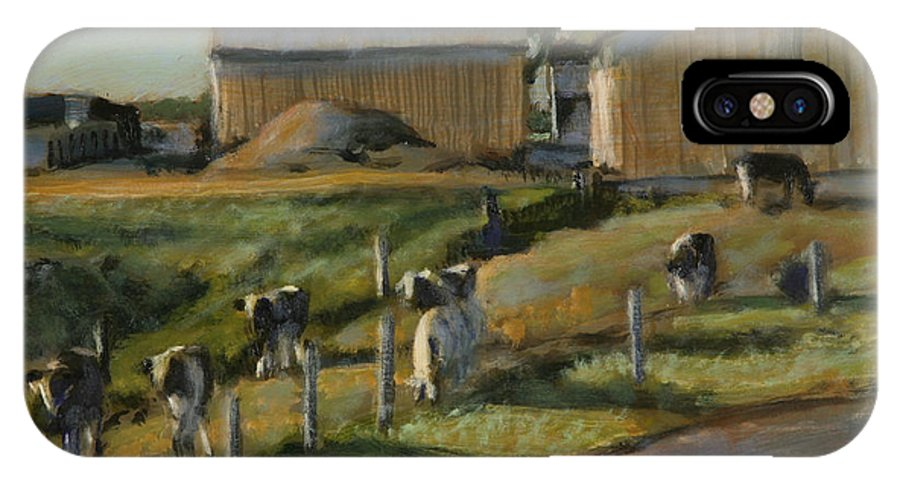 Cow Paintings IPhone X Case featuring the painting Rush Hour by David Zimmerman