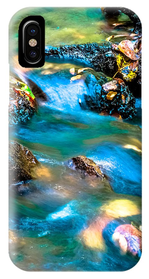 Optical Playground By Mp Ray IPhone X Case featuring the photograph Rushing Water Over Fall Leaves by Optical Playground By MP Ray