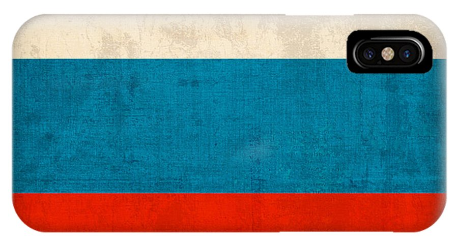 Russia Flag Vintage Distressed Finish IPhone X Case featuring the mixed media Russia Flag Vintage Distressed Finish by Design Turnpike