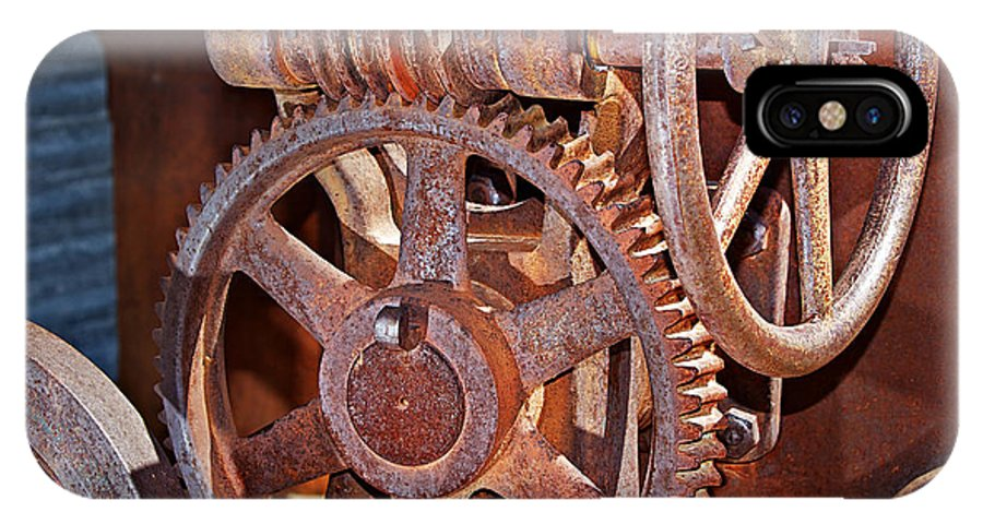 Gears IPhone X Case featuring the photograph Rust Gears And Wheels by Phyllis Denton
