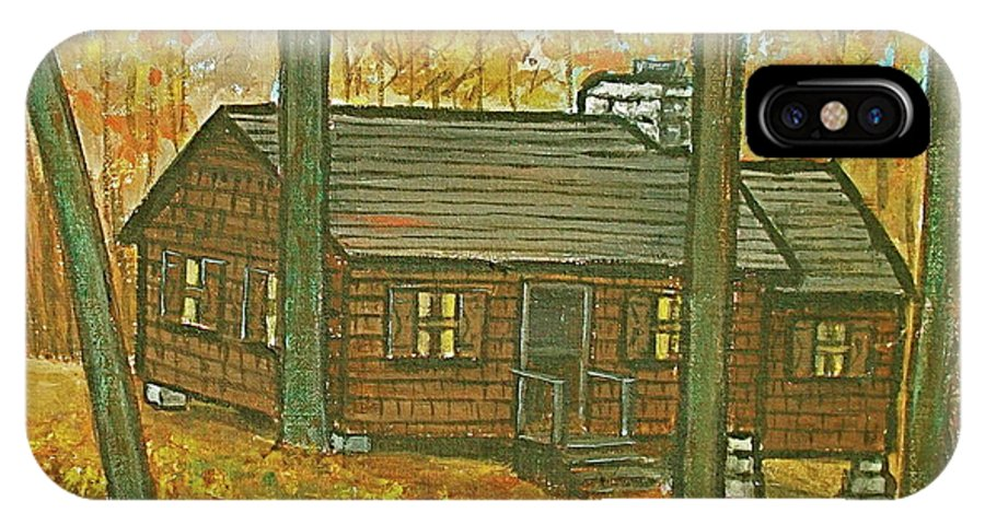 Brown Trees Cabin Fall Colors IPhone X Case featuring the painting Rustic Cabin At Lake Hope Ohio by Frank Hunter