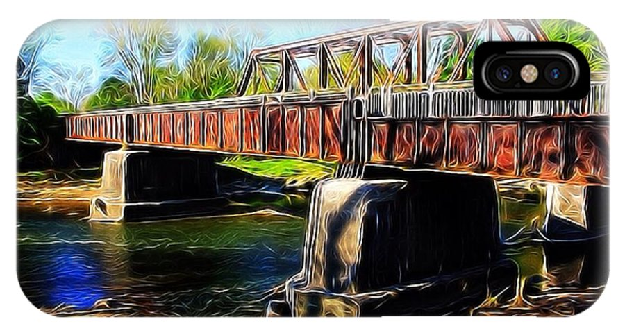 Landscape IPhone X Case featuring the photograph Rusting Bridge by Brett Beaver