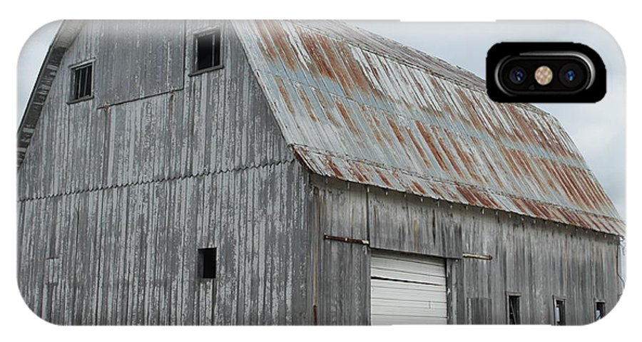 Barn. White Door IPhone X Case featuring the photograph Rusty Roof Barn by Minnie Davis