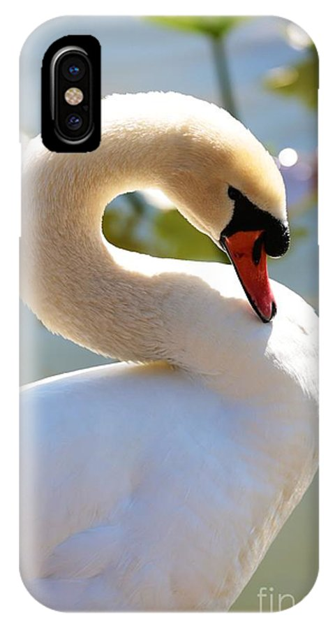 Swan IPhone X Case featuring the photograph S Is For Swan by Carol Groenen