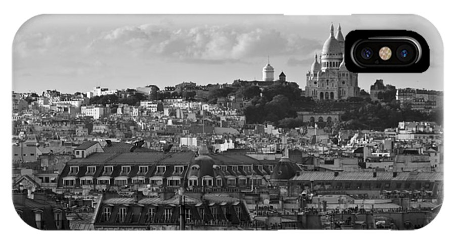 Sacre Coeur IPhone X Case featuring the photograph Sacre Coeur Over Rooftops Black And White Version by Gary Eason