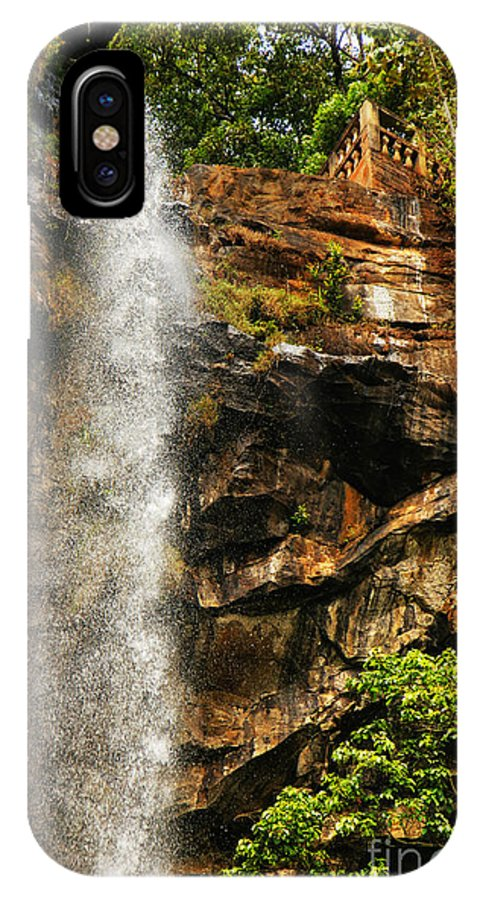 Waterfall IPhone X Case featuring the photograph Sacred Waterfall Of Tropical Forest by Sylvie Bouchard