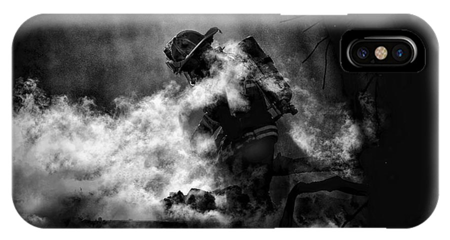 Firefighter IPhone X Case featuring the photograph Sacrifice by Mitchell Brown
