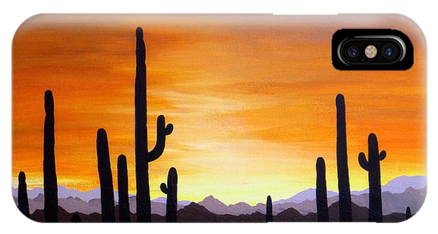 Acrylic IPhone X Case featuring the painting Saguaro Sunset by Carol Sabo
