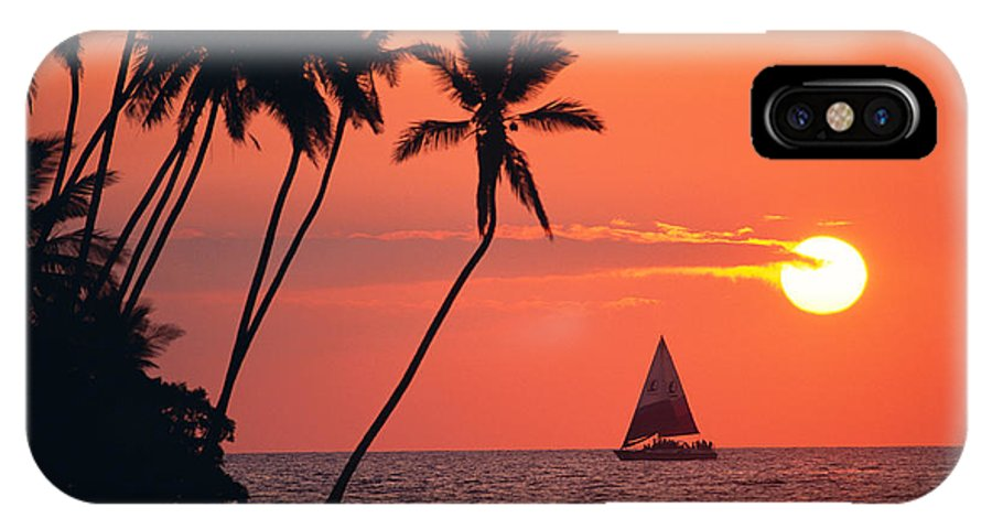 Big Island IPhone X Case featuring the photograph Sailboat at Sunset by Bob Abraham - Printscapes