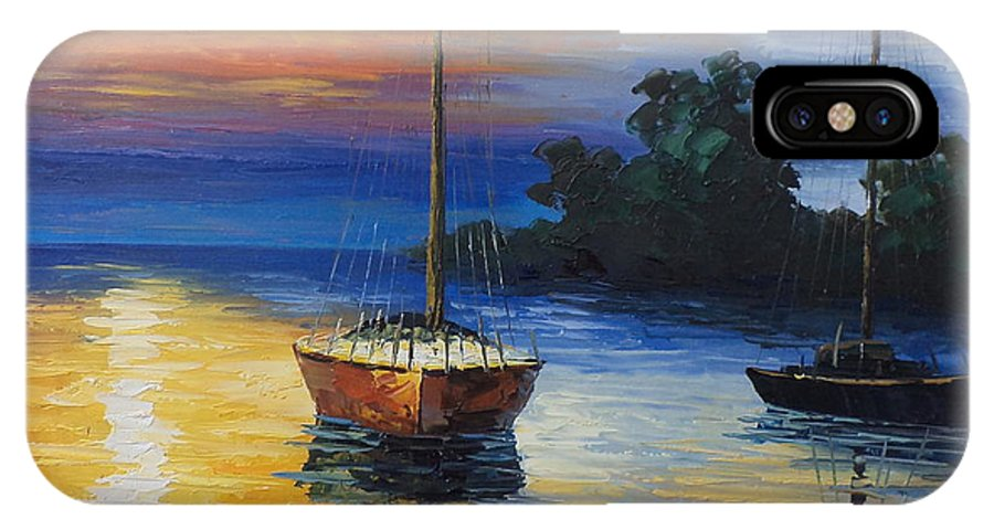 Landscape IPhone X Case featuring the painting Sailboat At Sunset by Rosie Sherman