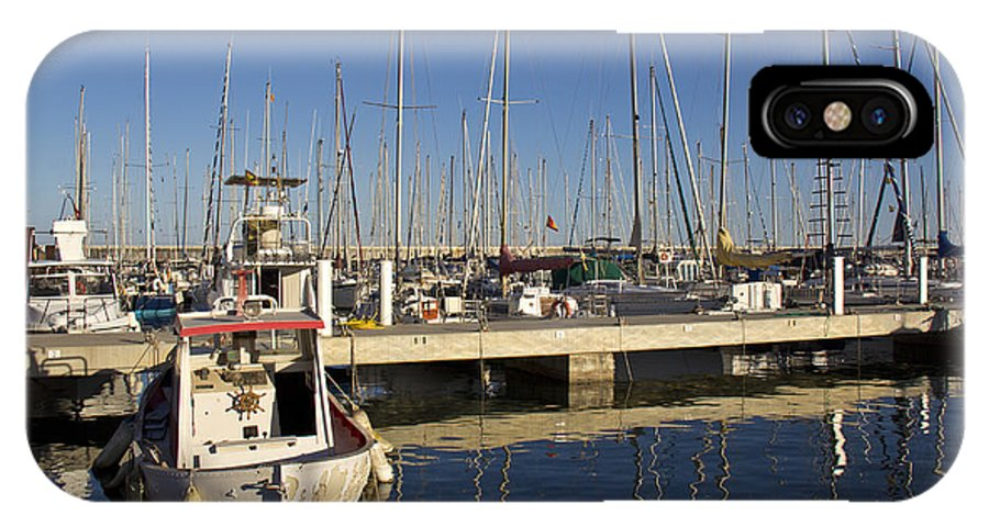 Sailboats IPhone X Case featuring the photograph Sailboats In Badalona Marina by Kendal Brenneman